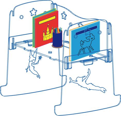 culla trasparente trasformabile in scrittoio portafavole